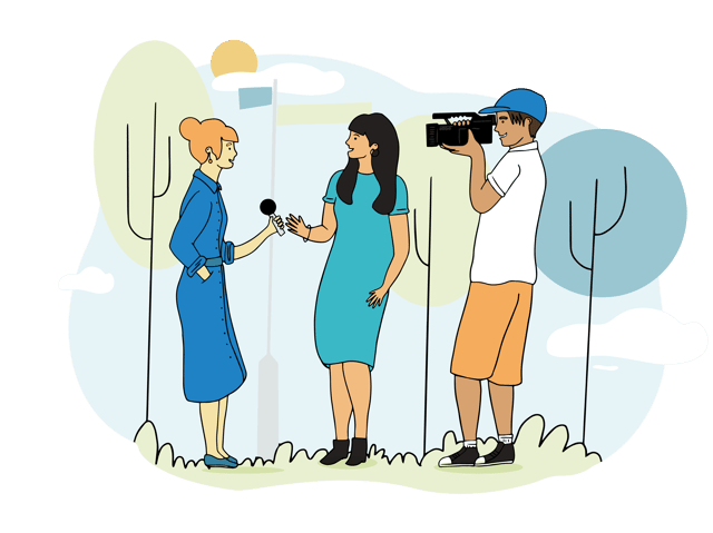 Illustration of woman interviewing woman with cameraman