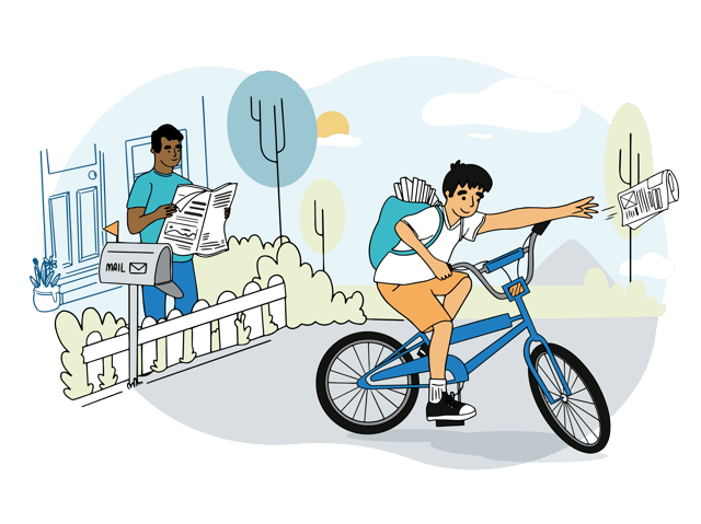 boy delivering newspaper on bicycle